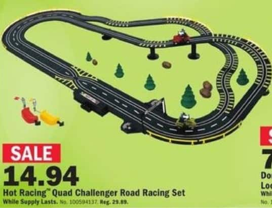 Mills Fleet Farm Black Friday: Hot Racing Quad Challenger Battery Operated Road Racing Set for $14.94