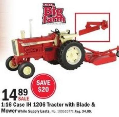 Mills Fleet Farm Black Friday: Big Farm Case IH 1206 Tractor w/ Blade & Mower for $14.89