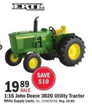 Mills Fleet Farm Black Friday: ERTL 1:16 Scale John Deere 3020 Utility Tractor for $19.89