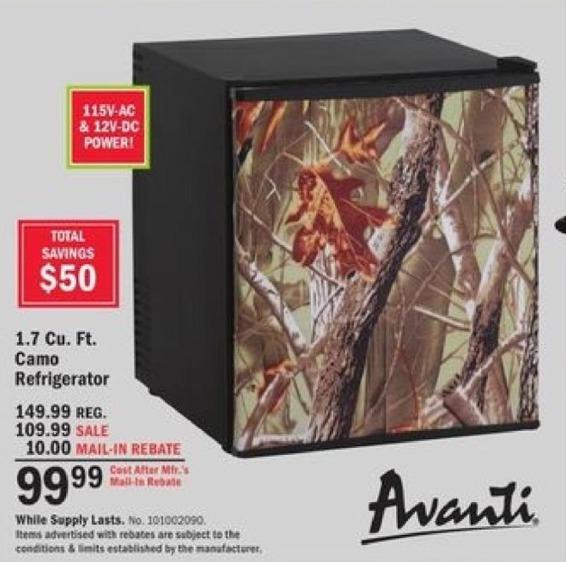 Mills Fleet Farm Black Friday: Avanti 1.7-cu. ft. Camo Refrigerator for $99.99 after $10.00 rebate