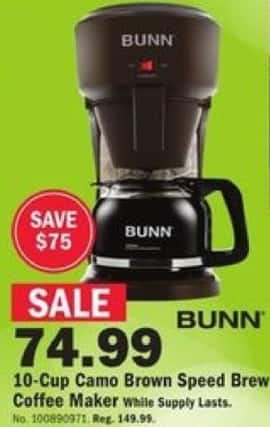 Mills Fleet Farm Black Friday: Bunn 10-cup Camo Brown Speed Brew Coffee Maker for $74.99