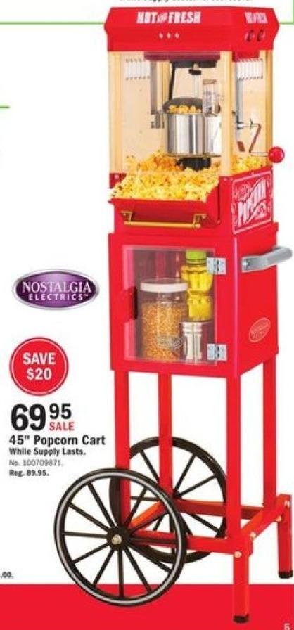 "Mills Fleet Farm Black Friday: Nostalgia Electrics 45"" Vintage Style Popcorn Cart for $69.95"