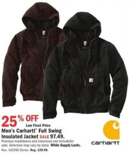 Mills Fleet Farm Promo Code >> Mills Fleet Farm Black Friday Carhartt Full Swing Insulated Jacket
