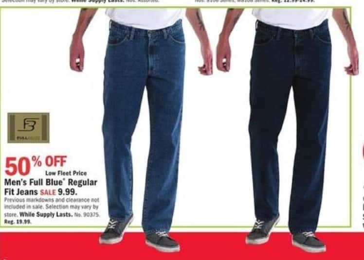 Mills Fleet Farm Black Friday: Full Blue Regular Fit Jeans for Men for $9.99