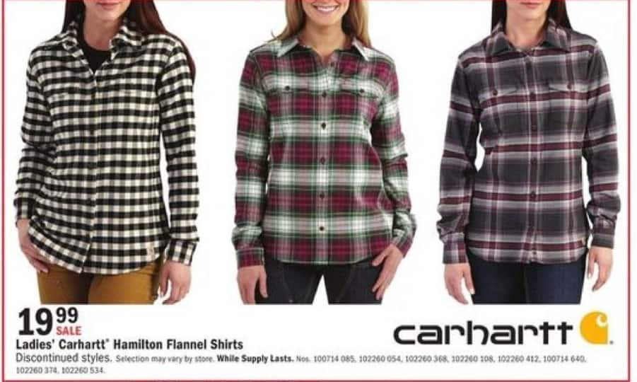 Mills Fleet Farm Black Friday: Carhartt Hamilton Flannel Shirts for Her for $19.99