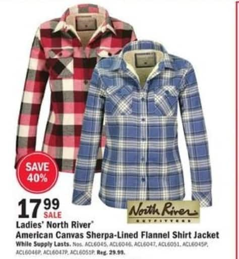 Mills Fleet Farm Black Friday: North River Outfitters American Canvas Sherpa-Lined Flannel Shirt Jacket for Her for $17.99