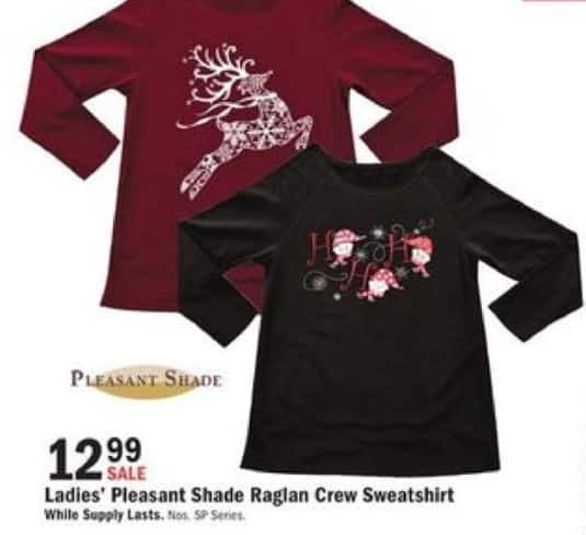 Mills Fleet Farm Black Friday: Pleasant Shade Raglan Crew Sweatshirt for Her for $12.99
