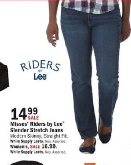 Mills Fleet Farm Black Friday: Riders By Lee Slender Straight Fit or Skinny Jeans for $14.99