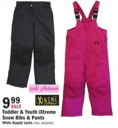 Mills Fleet Farm Black Friday: iXtreme Snow Bibs & Pants for Kids for $9.99