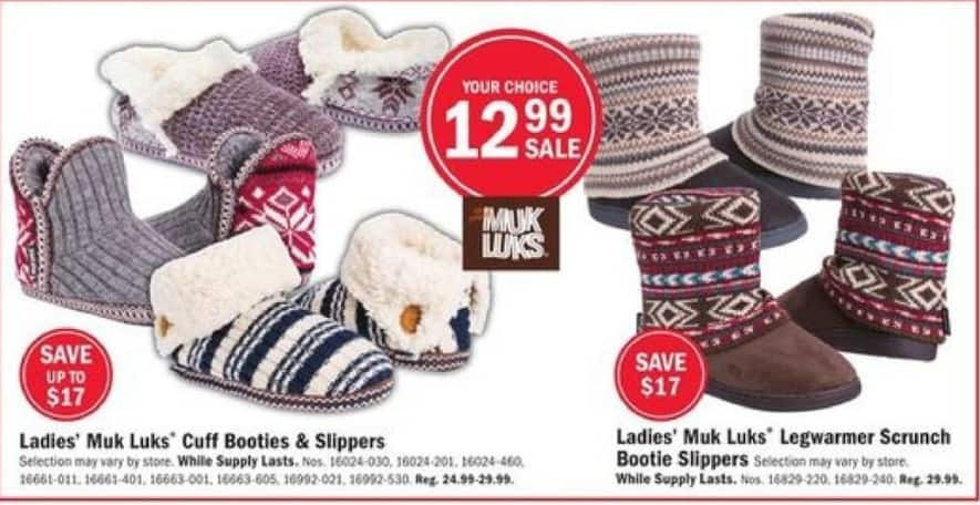 Mills Fleet Farm Black Friday: Muk Luks Cuff Booties & Slippers or Legwarmer Scrunch Boot Slippers for $12.99
