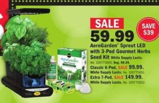 Mills Fleet Farm Black Friday: AeroGarden Sprout LED w/ 3-Pod Gourmet Herbs Seed Kit for $59.99