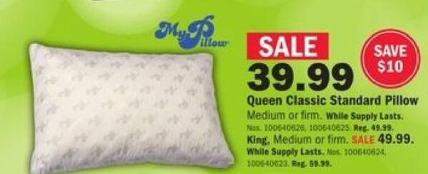 Mills Fleet Farm Black Friday: My Pillow King Classic Standard Pillow for $49.99