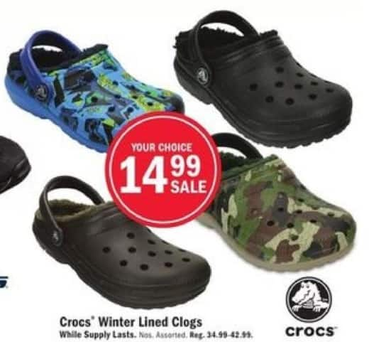 Mills Fleet Farm Black Friday: Crocs Winter Lined Clogs for $14.99