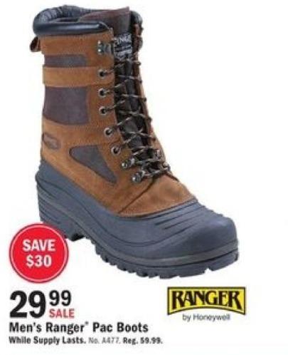 Mills Fleet Farm Black Friday: Ranger Pac Boots for Men for $29.99