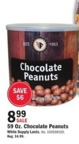Mills Fleet Farm Black Friday: Chocolate Peanuts - 59oz for $8.99