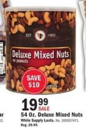 Mills Fleet Farm Black Friday: Deluxe Mixed Nuts - 54oz for $19.99