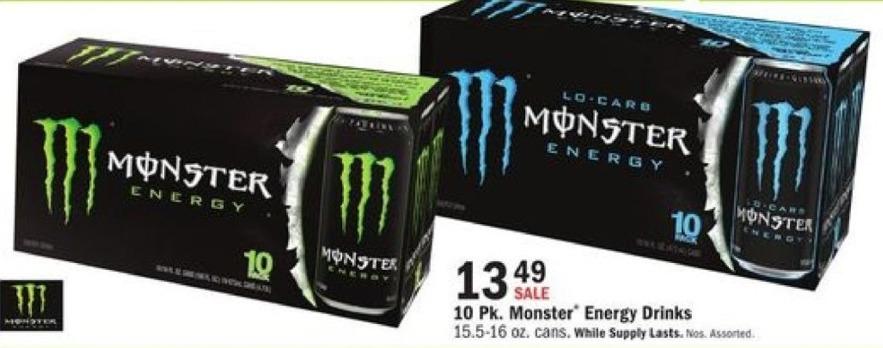 Mills Fleet Farm Black Friday: Monster Energy Drinks - 10-pk for $13.49