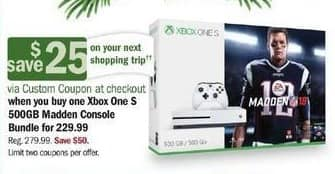 Meijer Black Friday: Xbox One S 500GB Madden Console Bundle + $25 Custom Coupon for $229.99