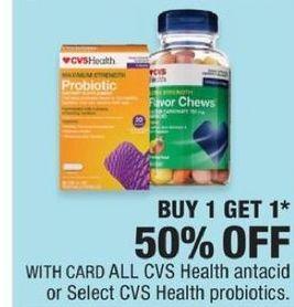 CVS Black Friday: CVS Health Antacid or Select CVS Health Probiotics - B1G1 50% Off