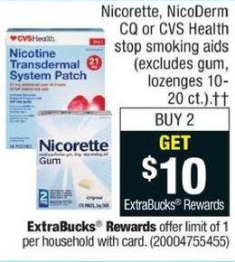 CVS Black Friday: Any 2 Nicorette, NicoDerm CQ or CVS Stop Smoking Aids - Get $10 ECB