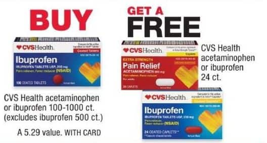 CVS Black Friday: Buy CVS Health Acetaminophen or Ibuprofen 100-1000ct, Get CVS Health Acetaminophen or Ibuprofen 24-ct for Free