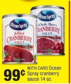 CVS Black Friday: Ocean Spray Cranberry Sauce for $0.99