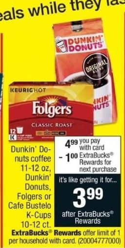 CVS Black Friday: Dunkin Donuts Coffee, Dunkin Donuts, Folgers or Cafe Bustelo K-cups + $1 ECB for $4.99