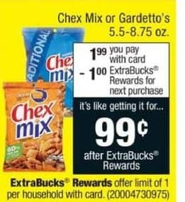 CVS Black Friday: Chex Mix or Gardetto's + $1 ECB for $1.99