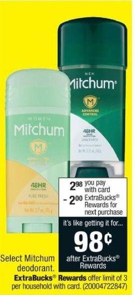 CVS Black Friday: Select Mitchum Deodorant + $2 ECB for $2.98