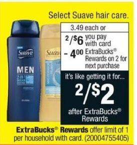 CVS Black Friday: (2) Select Suave Hair Care + $4 ECB for $6.00