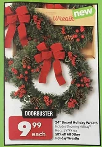 "Joann Black Friday: Boxed 24"" Holiday Wreath for $9.99"