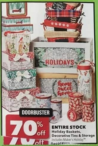 Joann Black Friday: Entire Stock of Holiday Baskets, Decorative Tins & Storage - 70% Off
