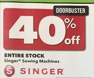 Joann Black Friday: Entire Stock of Singer Sewing Machines - 40% Off