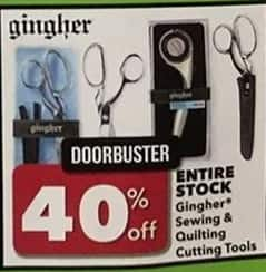 Joann Black Friday: Entire Stock of Gingher Sewing & Quilting Cutting Tools - 40% Off
