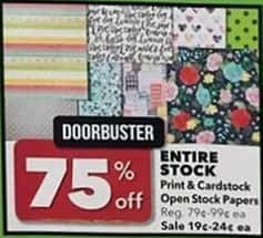 Joann Black Friday: Entire Stock or Print & Cardstock Open Stock Papers - 75% Off