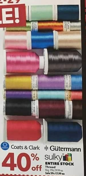 Joann Black Friday: Entire Stock of Thread - 40% Off