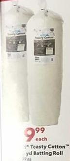 Joann Black Friday: Toasty Cotton Batting Roll for $9.99