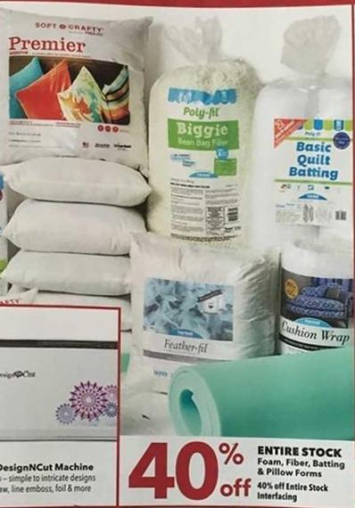 Joann Black Friday: Entire Stock of Foam Fiber, Batting, Pillow Forms & Interfacing - 40% Off