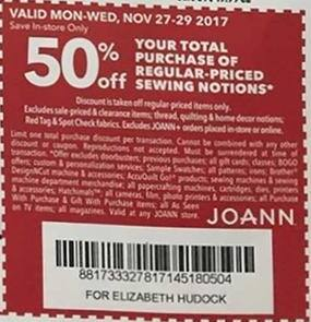 Joann Black Friday: Total Purchase of Regular Priced Sewing Notions - 50% Off