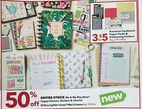 Joann Black Friday: Entire Stock of Me & My Big Ideas Happy Planner Stickers & Journal - 50% Off