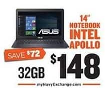 "Navy Exchange Black Friday: Asus 14"" 32GB Notebook for $148.00"