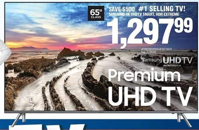 "Navy Exchange Black Friday: 65"" Samsung UN65MU8000 2160p 4K Smart UHD TV for $1,297.99"