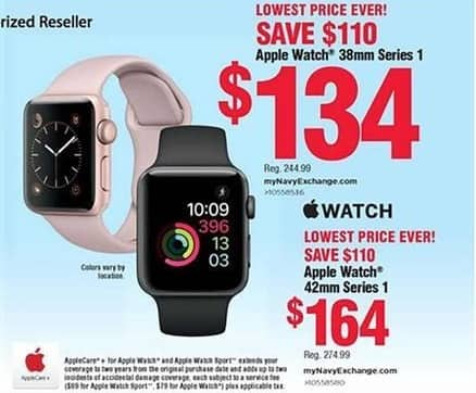 Navy Exchange Black Friday: Apple Watch 38mm Series 1 for $134.00