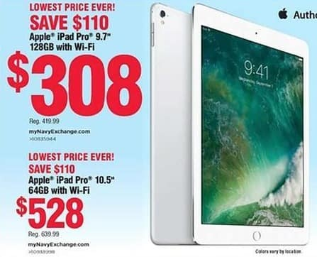 """Navy Exchange Black Friday: 64GB iPad Pro 10.5"""" Wifi Tablet for $528.00"""