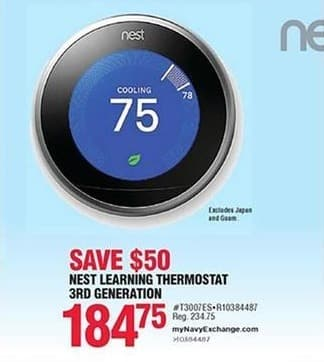 Navy Exchange Black Friday: Nest Learning Thermostat 3rd Generation for $184.75