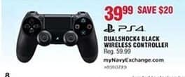 Navy Exchange Black Friday: PS4 Dualshock Black Wireless Controller for $39.99