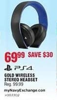 Navy Exchange Black Friday: PS4 Gold Wireless Stereo Headset for $69.99