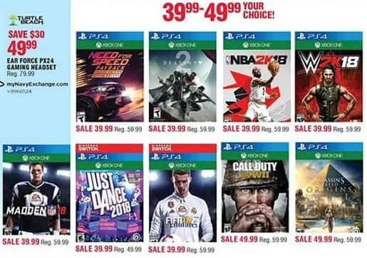 Navy Exchange Black Friday: Madden 18, Just Dance 2018, Call of Duty WWII, W2K18, NBA2K18 & More Video Games for $39.99 - $49.99
