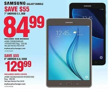 "Navy Exchange Black Friday: 8GB Samsung Galaxy 7"" Tablet w/ 16GB MircoSD Card for $84.99"