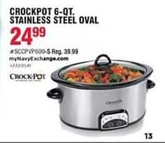 Navy Exchange Black Friday: Crock-Pot 6-qt. Stainless Steel for $24.99